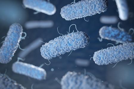Enterobacterias. Gram-negatieve bacteriën escherichia coli, salmonella, klebsiella, legionella, mycobacterium tuberculosis, yersinia pestis en shigella, proteus, enterobacter, serratia en citrobacter. 3D illustratie Stockfoto