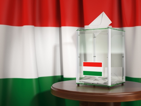 Ballot box with flag of Hungary and voting papers. Hungarian presidential or parliamentary election.  3d illustration Stock Photo