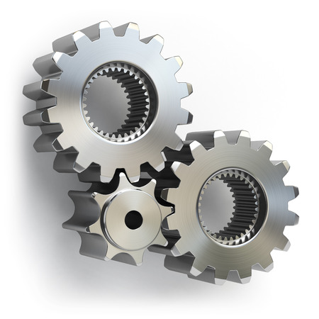 Metal gear wheels isolated on white background. Tools, settings or perpetuum mobile concept. 3d illustration Stock Photo