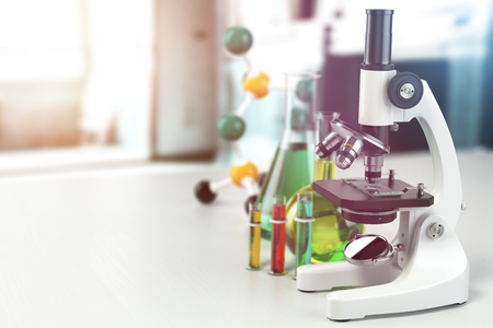 Microscope with lab glassware, flasks and colbas.Science laboratory research and chemistry white background. 3d illustration