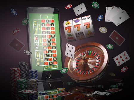 Online casino concept. Mobile phone, roulette with casino chips, slot machine and cards. 3d illustration Foto de archivo - 97005537