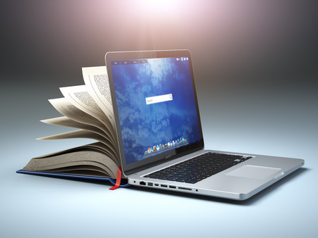 Online library or E-learning concept. Open laptop and book compilation. 3d illustration
