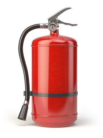 Fire extinguisher isolated on white background. 3d illustration Stock Photo