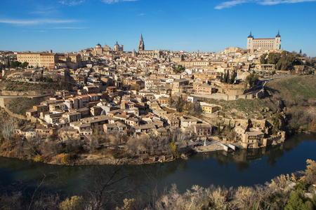 Toledo, Spain. Aerial view of medieval city Toledo in december.. Stock Photo