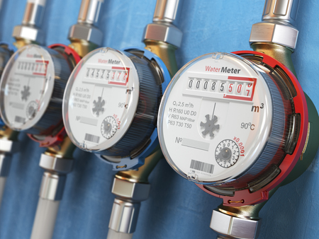 Row of water meters of cold and hot water on the wall background. 3d illustration Standard-Bild