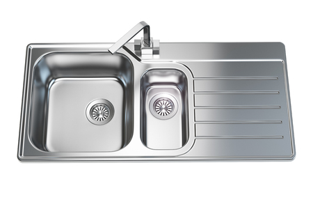Kitchen sink isolated on white background. 3d illustration Stock Photo