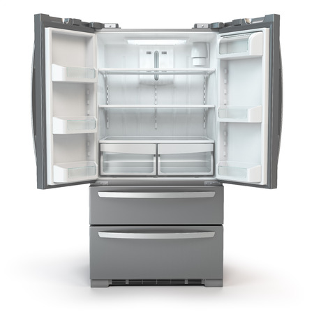 Open fridge freezer. Side by side stainless steel srefrigerator  isolated on white background. 3d illustration