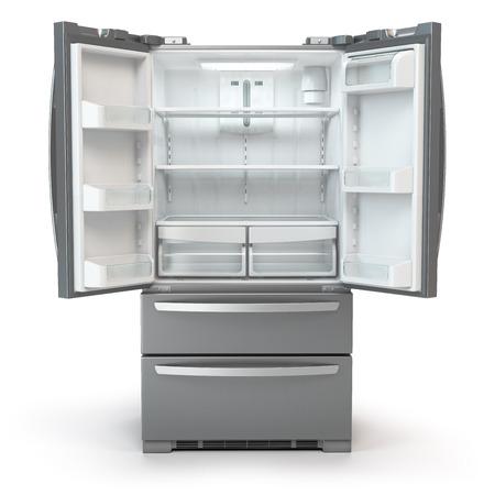 Kühlschrank mit Gefrierfach öffnen. Nebeneinander Edelstahl srefrigerator lokalisiert auf weißem Hintergrund. Abbildung 3d Standard-Bild - 99044882