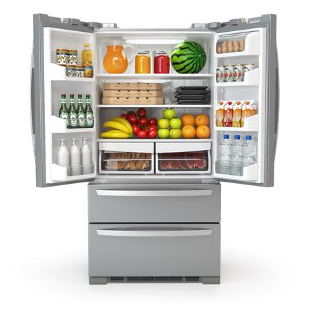 Offener Kühlschrank voll voll von Nahrungsmitteln und von Getränken lokalisiert auf weißem Hintergrund . 3D-Darstellung