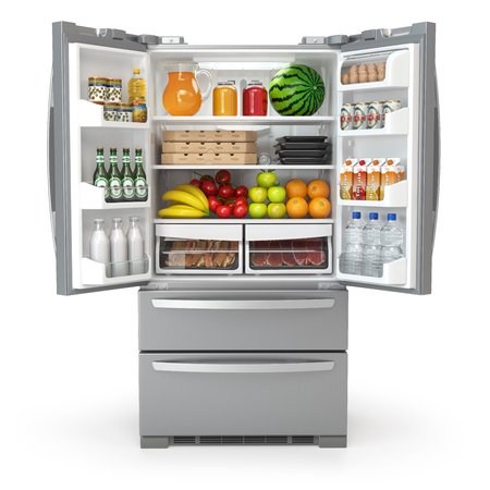Open fridge refrigerator full of food and drinks isolated on white background. 3d illustration