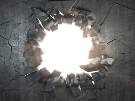 Cracked broken concrete wall with explosion hole and debris. Abstract grunge background. 3d illustration Stockfoto