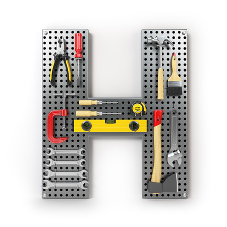 Letter H Alphabet from the tools on the metal pegboard isolated on white.