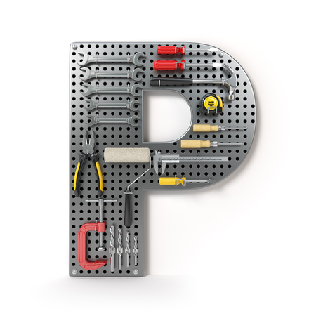 Letter P. Alphabet from the tools on the metal pegboard isolated on white.  3d illustration