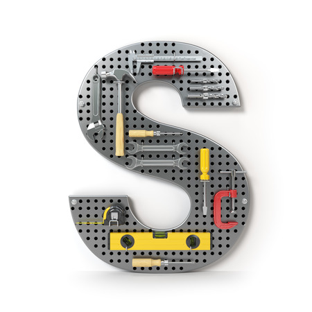Letter S. Alphabet from the tools on the metal pegboard isolated on white. 3d illustration