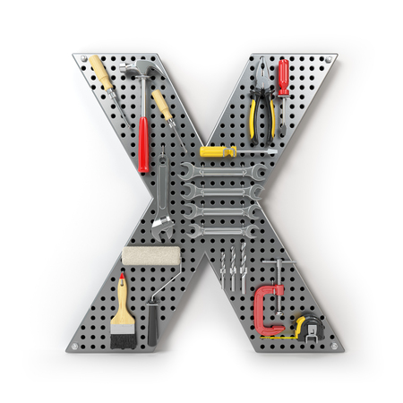 Letter X. Alphabet from the tools on the metal pegboard isolated on white.  3d illustration