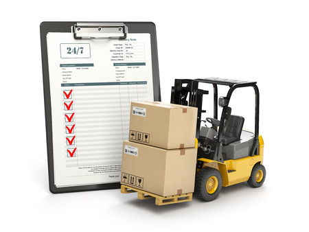 Delivery service concept. Forklift with parcel carton cardboard boxes and  clipboard with receipt form isolated on white. 3d illustration