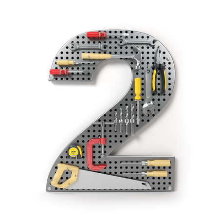 Number 2 two. Alphabet from the tools on the metal pegboard isolated on white.  3d illustration