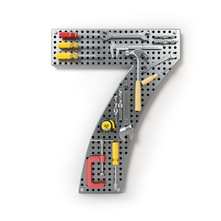 Number 7 seven. Alphabet from the tools on the metal pegboard isolated on white.  3d illustration