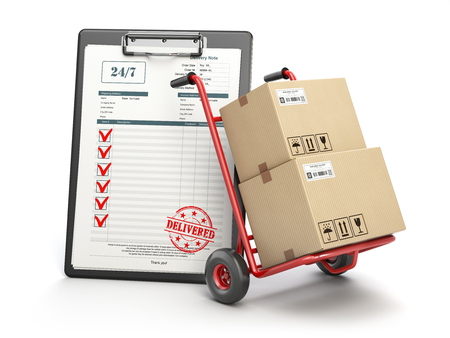 Delivery service concept. Hand truck with parcel carton cardboard boxes and  clipboard with receipt form isolated on white. 3d illustration Foto de archivo