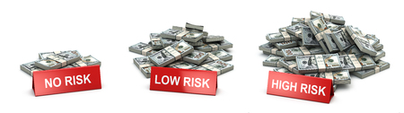 Investment and level of risk concept. Heaps of  packs of dollars and  no risk low and hogh risk signs. 3d illustration Stock Photo