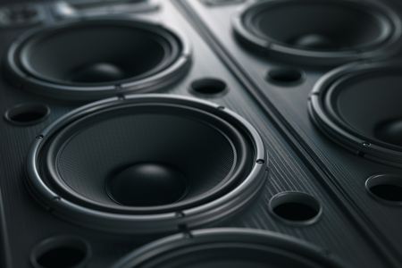 Multimedia  acoustic sound speaker system. Music close up black background. 3d illustration