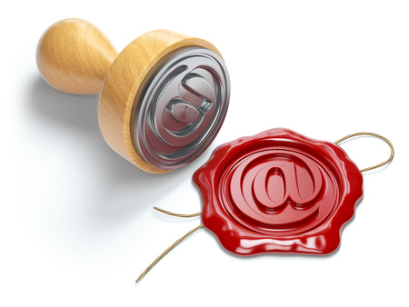 E-mail sign sealing wax stamp isolated on white background.  Internet communication concept. 3d illustration Stock Photo