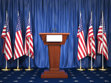 Podium speaker tribune with USA flags. Briefing of president of United states in WhiteHouse. Politics concept. 3d illustration