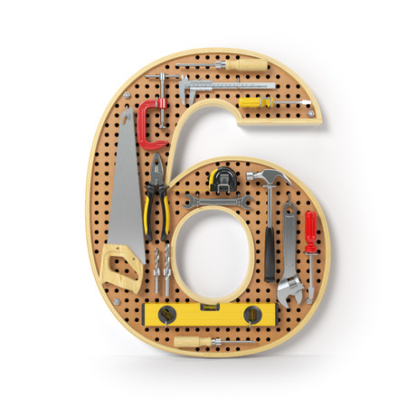 Number 6 six Alphabet from the tools on the metal pegboard isolated on white.  3d illustration