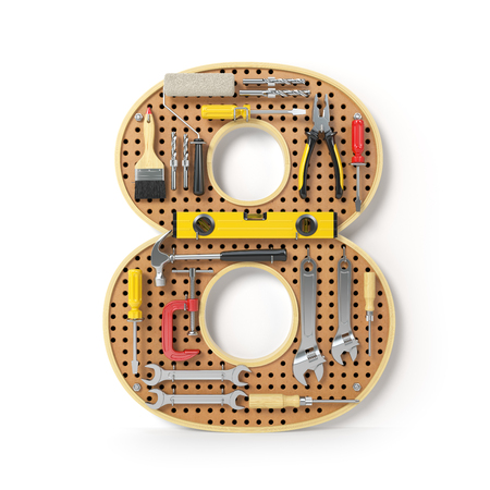 Number 8 eight. Alphabet from the tools on the metal pegboard isolated on white.  3d illustration