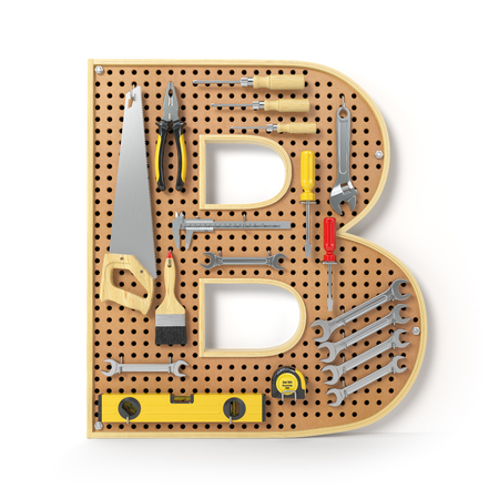 Letter B. Alphabet from the tools on the metal pegboard isolated on white.  3d illustration Stock Photo
