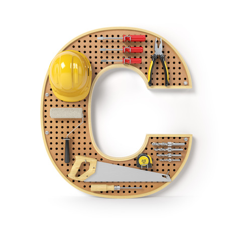 Letter C. Alphabet from the tools on the metal pegboard isolated on white.  3d illustration Stock Photo