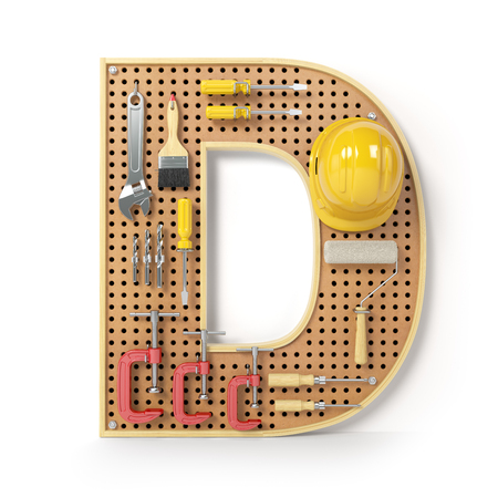 Letter D. Alphabet from the tools on the metal pegboard isolated on white.  3d illustration Stock Photo