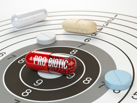 Pills on target and probiotic in the center.  Scientific research or best prescription medication concept. 3d illustration Stock Photo