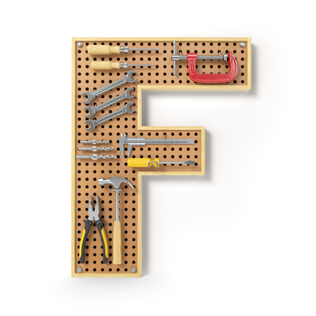 Letter F. Alphabet from the tools on the metal pegboard isolated on white.  3d illustration Stock Photo
