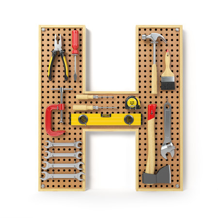 Letter H. Alphabet from the tools on the metal pegboard isolated on white.  3d illustration