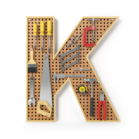 Letter K. Alphabet from the tools on the metal pegboard isolated on white.  3d illustration Stock Photo
