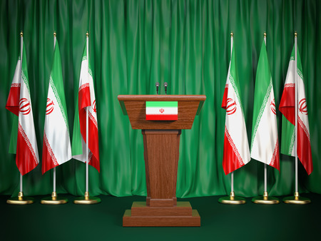 Podium speaker tribune with Iran flags. Briefing of president of Iran. Politics concept. 3d illustration