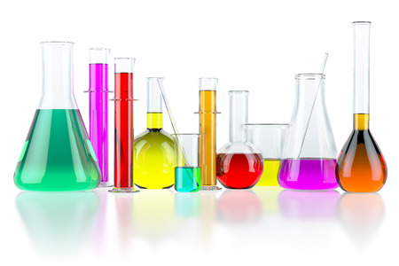 Laboratory glassware test glass flasks and tubes with solution isolated on white background. Science chemistry and research concept. 3d illustration Stock Photo