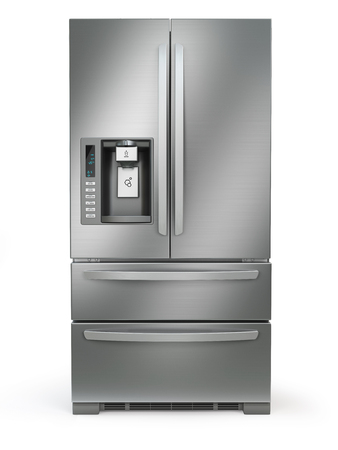 Fridge freezer. Side by side stainless steel refrigerator  with ice and water system isolated on white background. 3d illustration Stock Photo