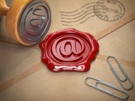 E-mail sign sealing wax stamp.  Internet communication concept. 3d illustration Stock Photo