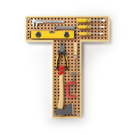Letter T. Alphabet from the tools on the metal pegboard isolated on white.  3d illustration Stock Photo