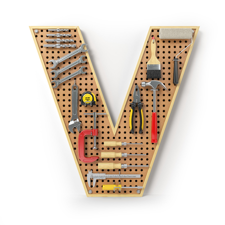 Letter V. Alphabet from the tools on the metal pegboard isolated on white.  3d illustration