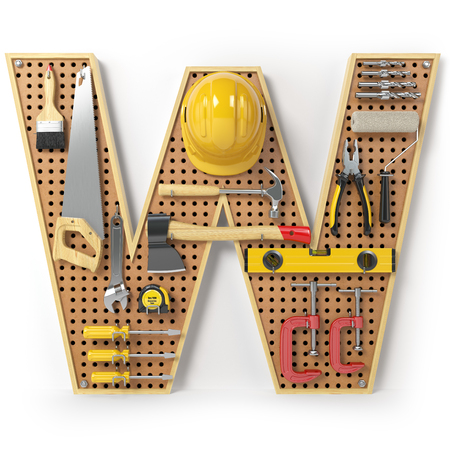 Letter W. Alphabet from the tools on the metal pegboard isolated on white.  3d illustration