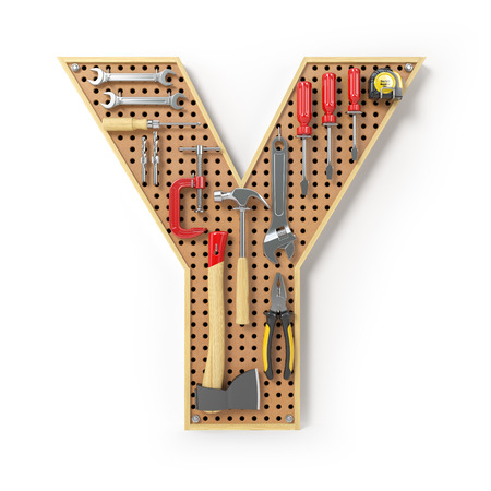 Letter Y. Alphabet from the tools on the metal pegboard isolated on white.  3d illustration