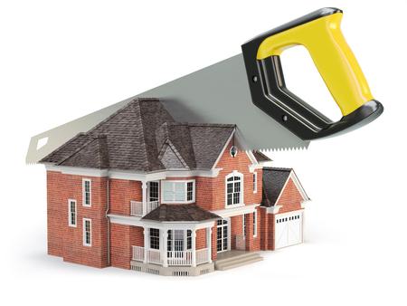 Säge spaltet ein Haus auf weißem Hintergrund. Scheidung und Aufteilung eines Immobilienkonzepts. 3D-Darstellung Standard-Bild