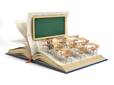 Open book and a classroom with blackboard and school desks isolated on white background. Education concept. 3d illustration