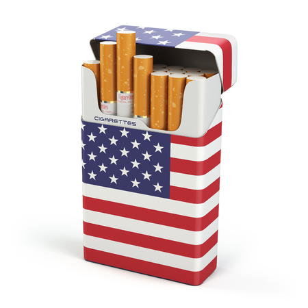 Cigarettes and tobacco in USA. Pack of cigarettes with a flag of USA isolated on white background. 3d illustration