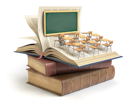 Vinteage books with blackboard and school desks in the auditorium. Education concept. 3d illustration Stock Photo