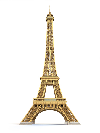 Eiffel Tower golden isolated on a white background. 3d illustration Stock Photo