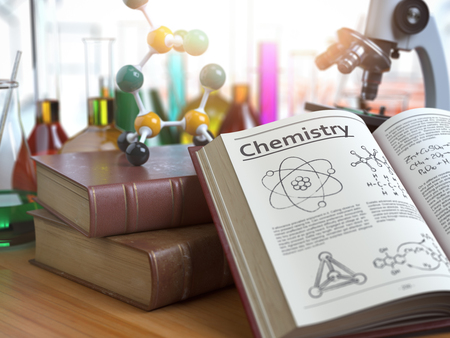 Chemistry education concept. Open books with text chemistry and formulas and textbooks, flasks with liquids and microscope in a classroom or a laboratory. 3d illustration Stock Photo